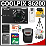 Nikon Coolpix S6200 Digital Camera (Black) with 8GB Card + Battery + Case + Accessory Kit