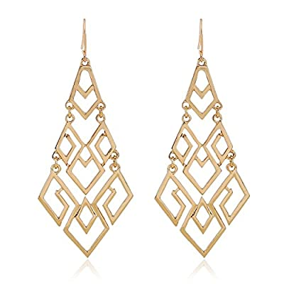 D EXCEED Women's Metal Cutout Diamond Chandelier Tiered Dangle Earrings, 3.15""