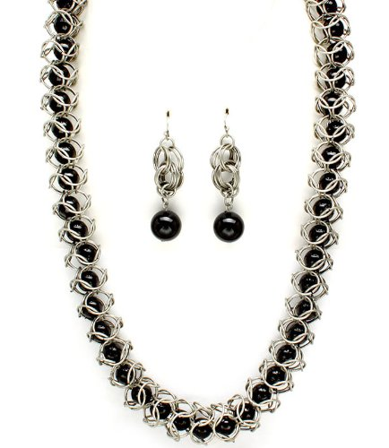 Sparkles Fashion Necklace - Black Necklace and Earring SET / Long Necklace / Faux Pearl Bead / Embedded / Metal Rings / 30 Inch Long / Nickel and Lead Compliant / - Dangle Drop Statement Wedding Jewelry