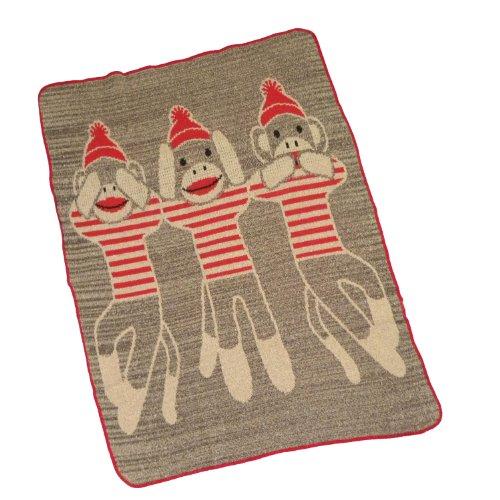 Three Wise Monkeys Sock Monkey Throw front-646258