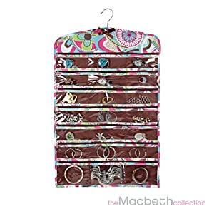 macbeth collection jewelry organizer zippered 42 pockets closet hanging jewelry. Black Bedroom Furniture Sets. Home Design Ideas