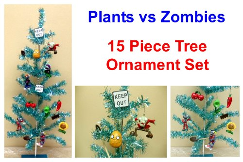 Unique Plants vs Zombies 15 Piece Holiday Christmas Tree Ornament Set  Featuring Zombie Ornaments, Plants - Plants Vs Zombies Party Supplies: Where To Buy Unique Plants Vs