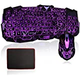 Gaming Keyboard and Mouse Set, MFTEK USB Wired LED Backlit Luminous Illuminated 3 Color Adjustable (Blue, Red, Purple) 3 Level Brightness Adjustable Crack Design Gaming Keyboard and Mouse Combo Set Mouse DPI Adjustable Up to 2400 DPI for Laptop Desktop Gamers Office Work With Mouse Pad (13 Inch*9 Inch)