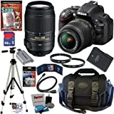 Nikon D5200 24.1 MP CMOS Digital SLR Camera (Black) with 18-55mm f/3.5-5.6G AF-S DX VR and 55-300mm f/4.5-5.6G ED VR AF-S DX NIKKOR Zoom Lenses + EN-EL14 Battery + 10pc Bundle 32GB Deluxe Accessory Kit