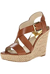 Michael Kors Giovanna Womens Luggage Brown Leather Wedge Heel Sandals