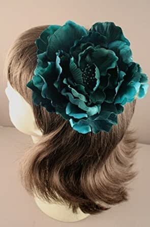 Beak Hair clip - Statement flower on forked beak hair grip slide[Teal]
