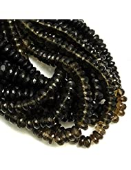 """Goyal Impex 1 Strand Natural Smoky Quartz Gemstone Rondelle Faceted Beads Full 10"""" Strand 8 - 9 Mm For Jewelry..."""