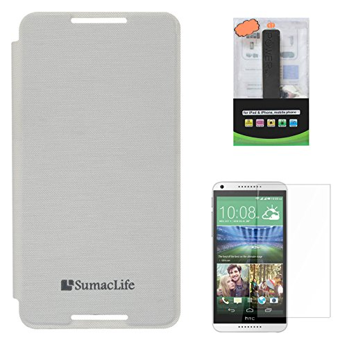 SumacLife Premium Flip Cover Case For HTC Desire 816G (White) + 2600 MAh PowerBank + Matte Screen