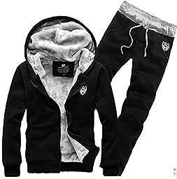 Yonger Men\'s Winter Clothes Plus Velvet Sweatshirt Set Warm Sweater Suit Coat + Pants