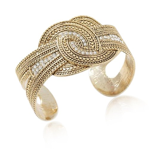 51EwlZgNgDL Goldtone Double Circle Crystal Cuff Bracelet Fashion Jewelry Testimonials