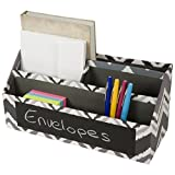 4 Compartment Desktop Letter Sorter with Name Badge Place Holder (Black and Grey)