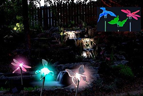 Abco Tech 3 Piece Decorative Solar Light Set (Hummingbird, Butterfly & Dragonfly)