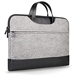 Inateck 15-15.4 Inch MacBook Pro / Pro Retina Sleeve Case Bag Cover Laptop Notebook Ultrabook Protective Bag with Leather Handle, Gray
