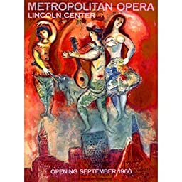 1966 Metropolitan Opera by Artist Marc Chagall 14''x20'' Planked Wood Sign Wall Decor Art by ArteHouse