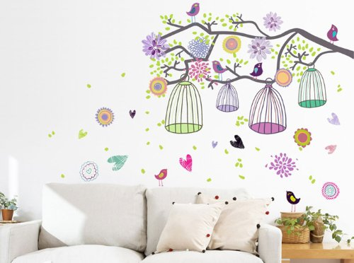 Kingwell Colorful Birdcage Tree Living Room Bedroom Art Design Removable Diy Mural Wall Sticker Decal For Nursery Baby Girls Kid'S Children'S Room front-698928