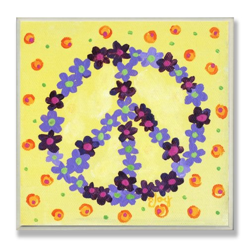 The Kids Room by Stupell Purple Floral Peace Sign on Yellow Background Square Wall Plaque