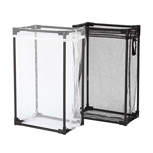 StorageManiac Pack of 2 Portable Laundry Hamper with Removable Mesh Laundry Bag, Lightweight Mesh Laundry Hamper for Clothes, Black and White (Laundry Hamper Portable compare prices)