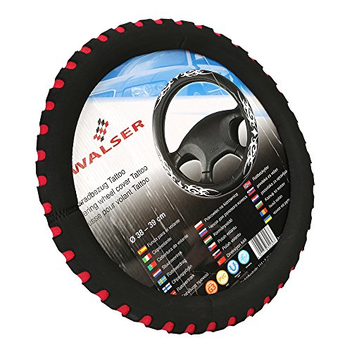 """Automotive Steering Wheel Cover - TKOOFN Soft & Breathable EVA Foam Cover Fit for Car Steering Wheel with 38cm/15"""" Diameter, Black / Red, M06001-03"""