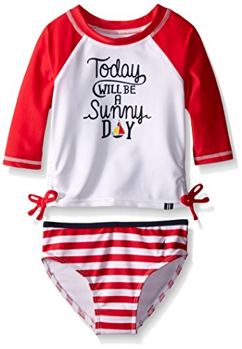 Nautica Little Girls' Rashguard Set with Stripe Bottom, Red, 7