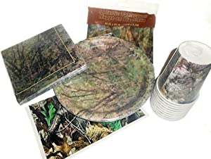 Woods Camouflage Camo Party Supplies - Tablecover, Plates, Napkins, Cups & Candy Labels
