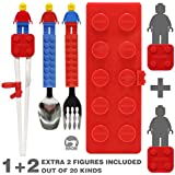 Brick Figure Spoon, Fork, Training Chopsticks And Case Set For Toddler Kid Children (BPA / NON-TOXIC PRODUCT)...