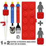 Brick Figure Spoon, Fork, Training Chopsticks and Case set for Toddler Kid Children (BPA / NON-TOXIC PRODUCT) / Lego Brick Compatible (Right hand) (Red)