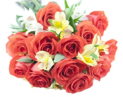 Long-Stemmed Sunshine Rose & Alstromeria Bouquet - The Kabloom Collection Flowers Without Vase