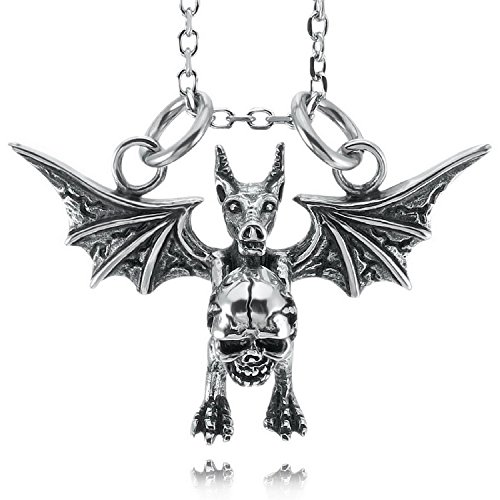 Kalendone Stainless Steel Skull Bat Wings Demon Necklace,Demon Jewelry,Devil Necklace for Men
