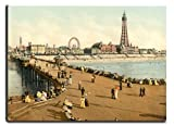 Canvas Reproduction Print, A Picture Of Blackpool From The North Pier England, Wrapped Around A Thick Wooden Frame Of Approx. 22mm In Depth (Finished Size with Wrap, Approx. 25mm), Aproximate size 30 Inch x 22 Inch (76.92 cm x 55.88 cm)