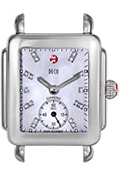 MICHELE Women's MW06V00A0046 Deco 16 Diamond-Accented Stainless Steel Watch Head