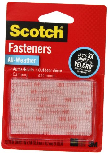 Discover Bargain Scotch(R) All-Weather Fasteners, 2 Sets of 1 Inch x 3 Inches, Strips, Clear, 2-Pack...