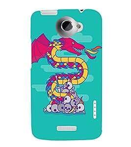 PrintVisa Modern Art Dragon And Skull 3D Hard Polycarbonate Designer Back Case Cover for HTC One X