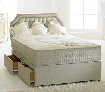 Happy Beds Divan Bed Set Bamboo End Drawer Memory Foam Pocket Sprung Mattress 4' Small Double 120 x 190 cm