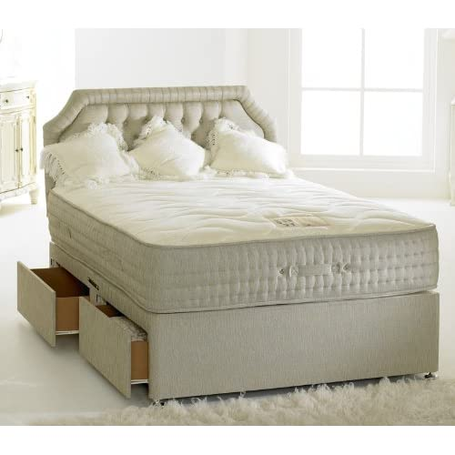 Happy Beds Divan Bed Set Bamboo 4 Drawers Memory Foam Pocket Sprung Mattress 4'6'' Double 135 x 190 cm