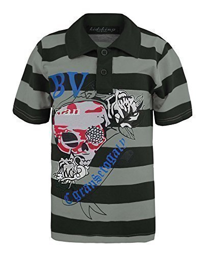 Kids Scull Print Polo Shirt In Black/Grey (Grey) 5-6 Years