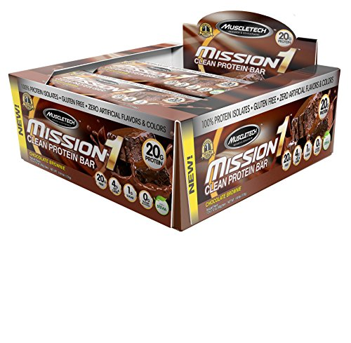 MuscleTech Mission1 Clean Protein Bar, High Protein, Low Fat, Delicious, Chocolate Brownie, 12 Count, Net Wt. 1.59 lbs. (720 g) (Quest Bar Sugar Free compare prices)