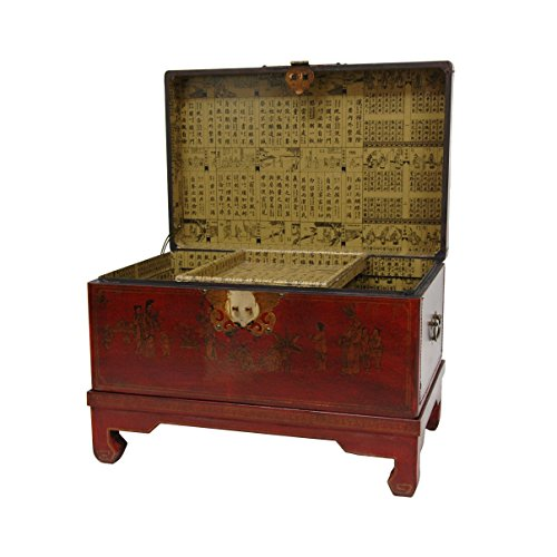 Oriental furniture red lacquer small trunk cabinets for Red chinese furniture