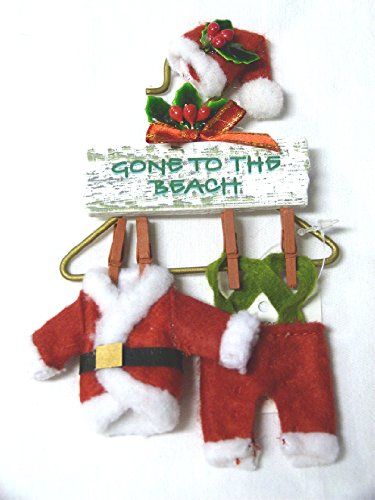 Santa Suit on a Hanger – Gone to the Beach Sign – Tropical Christmas Ornament