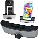 No1accessory CM2203 Silver desktop SYNC / Charging Cradle dock docking station battery charger stand with 2nd battery charger for Samsung Galaxy S5