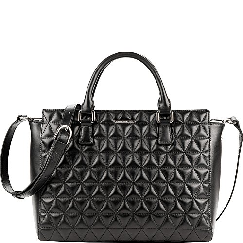 lancaster-paris-parisienne-matelasse-satchel-black
