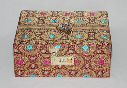 Brocade Silk Jewellery Set Box  Diamante & Jewelled