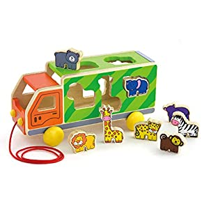 Wooden Pull Along Shape Sorting Animal Truck from Viga