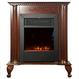 Yosemite Home Decor DF-EFP79 Classic Electric Fireplace, Brown