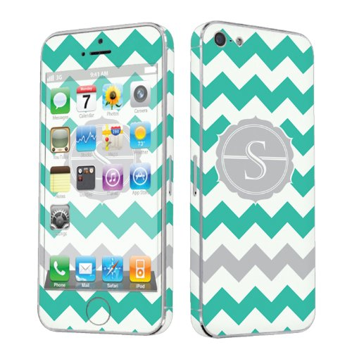 Skinguardz Vinyl Decal Sticker Skin For Apple Iphone 5 - Mint Chevron Monogram Initial S front-605268