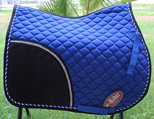 horse-quilted-english-saddle-pad-tack-trail-riding-dark-blue-72f10