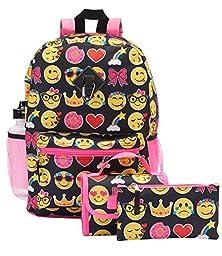 Kids Emoji 5 Piece Backpack Set - Large Backpack, Lunch Bag, Pencil Case, Water Bottle and Clip