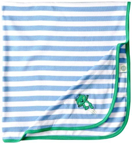 Little Me Baby-Boys Newborn Leap Frog Blanket, Blue/White Stripe, One Size