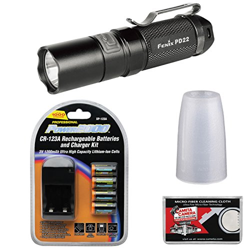 Fenix Pd22 Led Waterproof Torch Flashlight (Black) With Diffuser Tip + 4 Recharageable Batteries & Charger + Cloth
