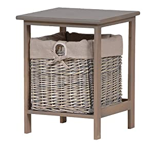 Small Grey Wood 1 Basket Wicker Bathroom Bedroom Storage Unit