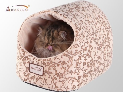 Armarkat Cat Bed With Flower Pattern Beige